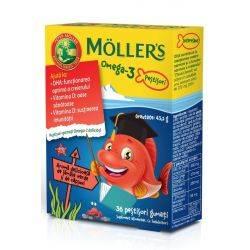 Pestisori gumati Omega 3 cu aroma de capsuni x 36 jeleuri Moller's