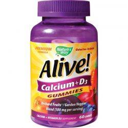 Alive! Calcium + D3 Gummies x 60 gummies Natures Way