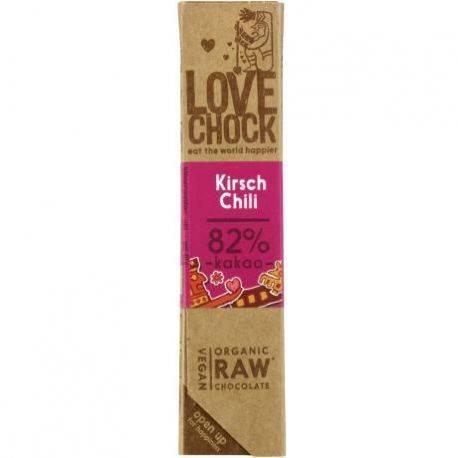 Ciocolata Eco raw-vegan cu cirese si chili x 40g Lovechock