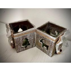 Suport lumanare Christmas Star Box 7x8cm Roxan