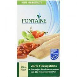 File de hering in sos bio de tomate cu bucati de tomate x 200g Fontaine
