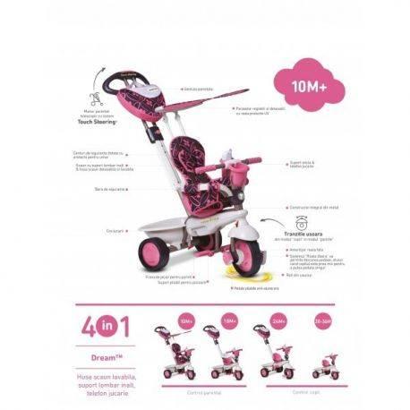 Tricicleta Smart Trike Dream Pink 4in1