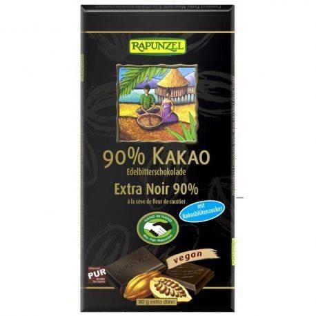 Ciocolata amaruie 90% cacao si zahar de cocos x 80g Rapunzel