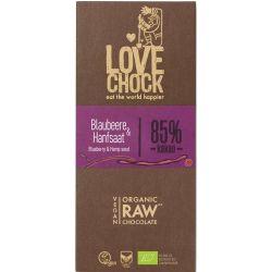 Ciocolata RAW VEGANA cu afine si seminte de canepa x 70g Lovechock