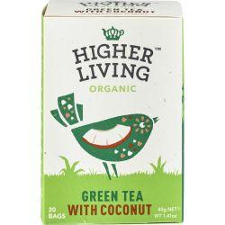 Ceai verde cu cocos 20 plicuri bio x40g Higher Living