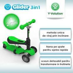 Trotineta Glider 3IN1 Green YVolution