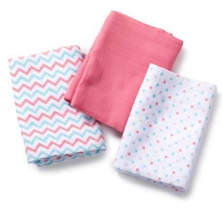 SwaddleMe, by Summer Set de 3 paturici de muselina roz/albastru