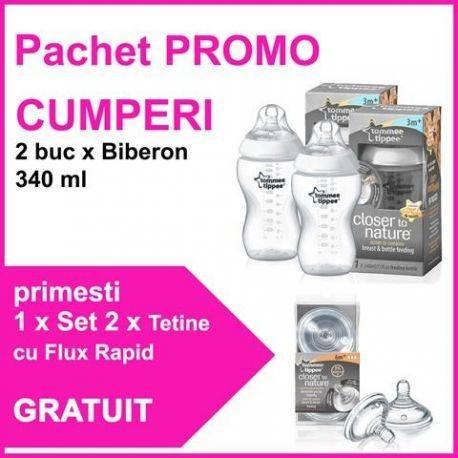 Pachet PROMO 2 Biberoane 340 ml + Set 2 Tetine Cu Flux Rapid GRATUIT