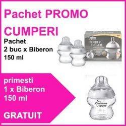 Pachet PROMO 2 Biberoane 150 ml + Biberon 150 ml GRATUIT