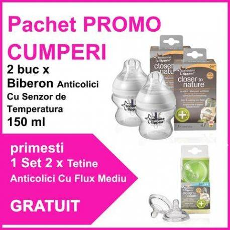 Pachet PROMO 2 Biberoane Anticolici Cu Senzor de Temperatura 150 ml + Set 2 Tetine Anticolici Cu Flux Mediu GRATUIT