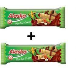 Oferta 1+1 Pufuleti de porumb umpluti cu crema de alune x 18g Alaska