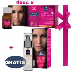 Pachet Beautin Collagen Recharge Monodose Kit 4 Buc + 1 Beautin Collagen Ser pentru Ten si Ochi 30ml GRATIS