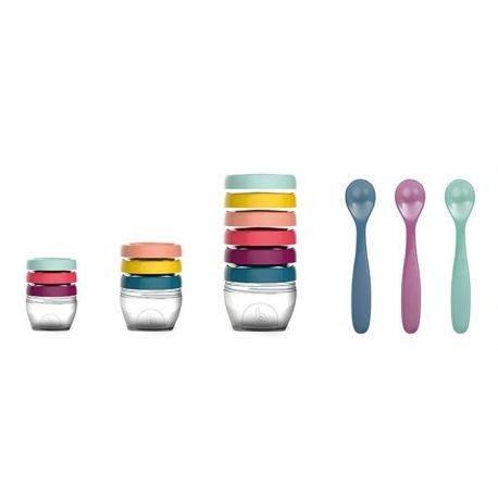 Multi set pentru diversificare: 3 seturi recipiente + un set linguri - Babymoov