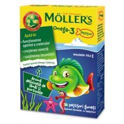 Pestisori gumati Omega 3 cu aroma de portocale si lamaie x 36 jeleuri Moller's