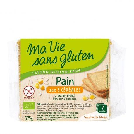 Paine feliata cu 3 cereale fara gluten bio x 375g Ma vie sans gluten