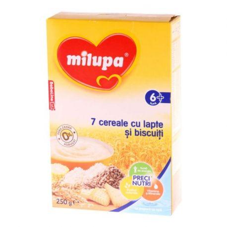 Cereale 7 Cereale cu lapte si biscuiti x 260g Milupa