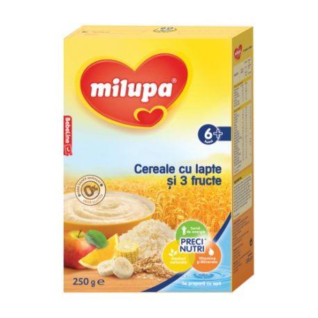 Cereale cu lapte si 3 fructe fara gluten x 260g Milupa