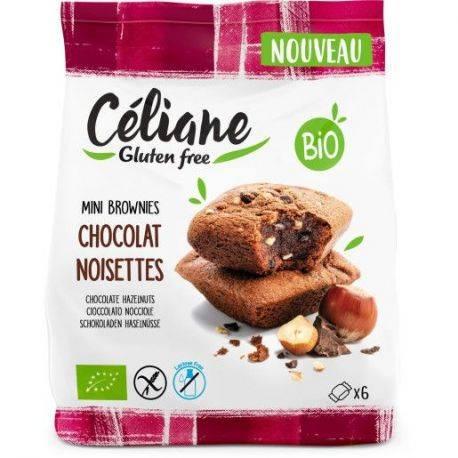 Mini brownies bio cu ciocolata si alune fara gluten, fara lactoza x 170g Celiane